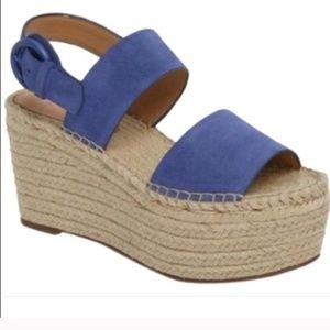 NWT Marc Fisher Blue Suede Wedge Espadrille Sandal